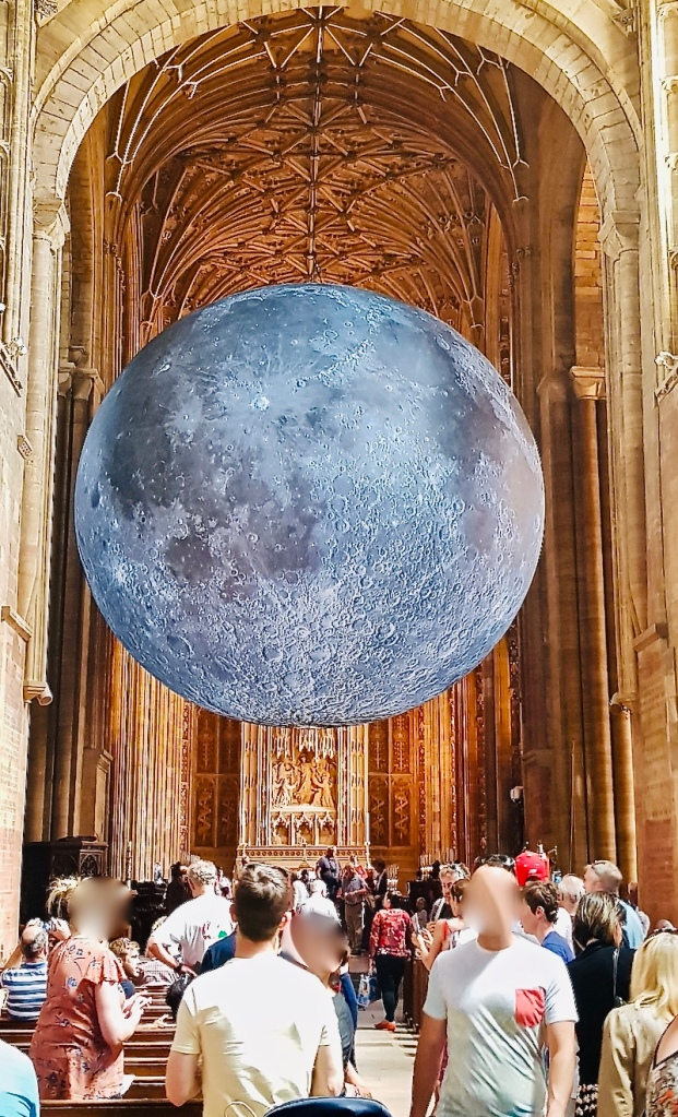 Moon in the Abbey.  Museum of the moon.  Luke Jerram